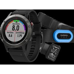 Спортивные часы FENIX 5 серые с черным ремешком и HRM-Tri